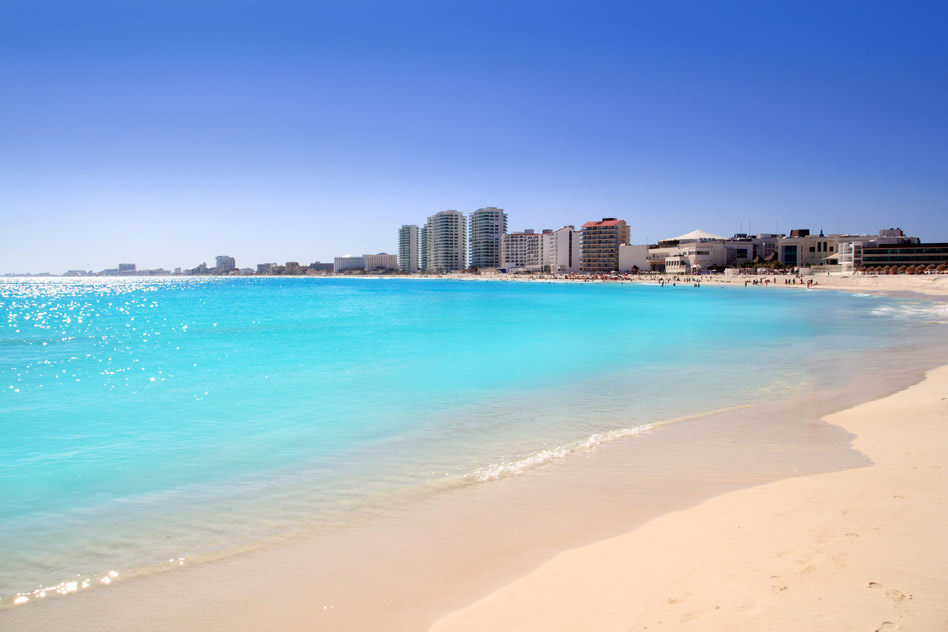 Cancun beach view from turquoise Caribbean sea summer vacation destination