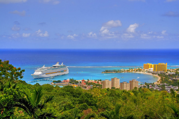 Ocho Rios port town, Jamaica, with anchored cruise liner