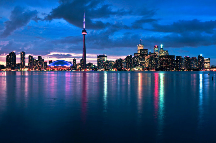 Scenic view at Toronto city waterfront skyline Canada