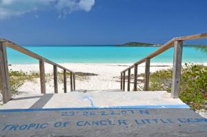 Tropic of Cancer mark at Little Exuma, Bahamas