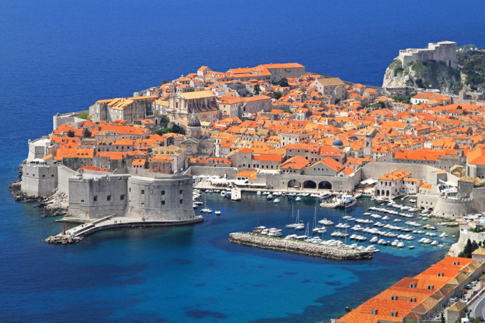 Aerial shot of old sunny Dubrovnik city