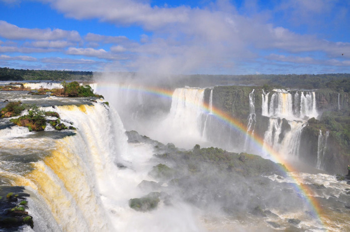 Iguazu Falls, on the border of Brazil and Argentina.