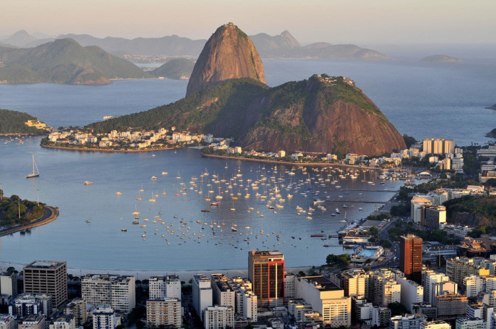 Evening view of Rio de Janeiro's famous landmark Sugarloaf located in Brazil