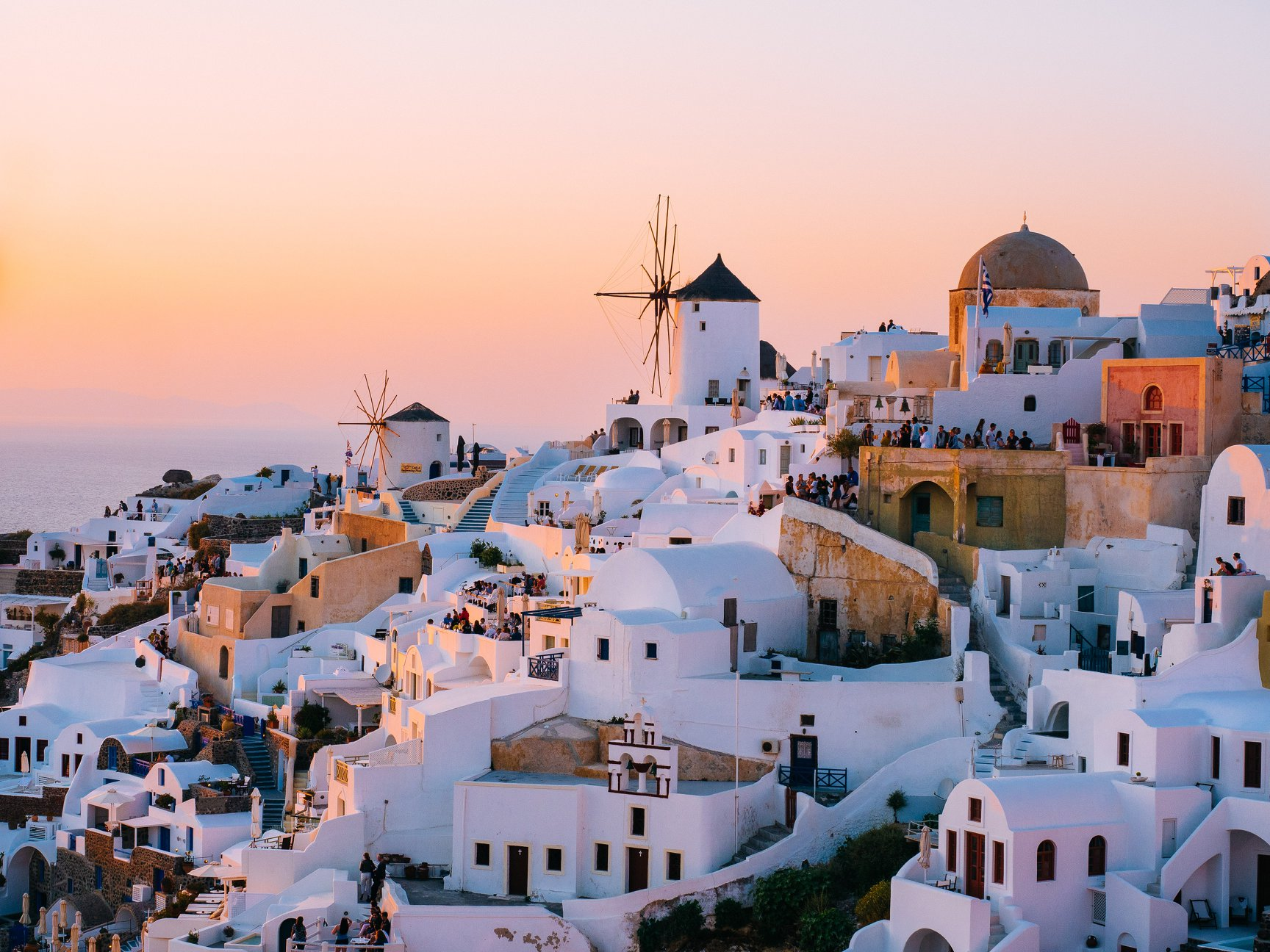 Santorini is one of the Cyclades islands in the Aegean Sea.