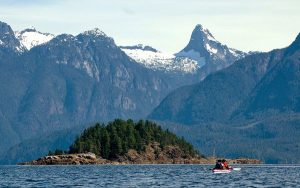 The scenic islands surrounded by mountains in British Columbia are beautiful to behold and to visit by kayak