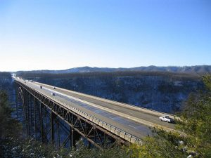 The New River Gorge bridge is the longest arch bridge in the world. Located in West Virginia